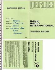 1974 tv350 Rank Radio Ricevitore televisivo carta di garanzia
