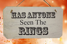 Wedding qualcuno ha visto gli anelli ❤ RUSTICO segno in legno shabby chic bianco lavato