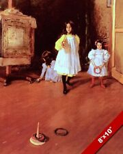 YOUNG GIRLS KIDS PLAYING RING TOSS GAME 1800'S PAINTING ART REAL CANVAS PRINT