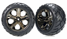 Traxxas 3776A Front All Star Black Chrome Wheel/Anaconda Tire Rustler 2WD VXL