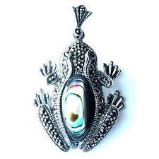 FROG PENDANT Abalone Shell Stone Marcasite .925 Sterling Silver