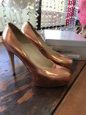 Brian Atwood Rose Gold Leather Maniac Metallic Pumps (Size 41)