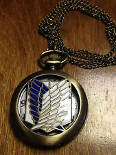 Attack On Titan Bronze Survey Corps Quartz Pocket Watch Necklace Anime Manga