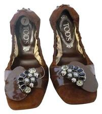 TOD'S BROWN SUEDE LEATHER BALLERINA BALLET FLATS SHOES 7 37