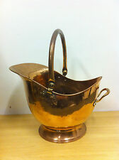 Antique Victorian Large Copper Helmet Coal Wood Bucket Scuttle Fireplace (TA081)