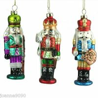 GISELA GRAHAM GLASS NUTCRACKER SOLDIER GLITTER CHRISTMAS TREE DECORATIONS GIFT