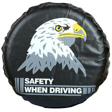 Black Car Spare Wheel Cover Tire Covers Eagle Image Imitation Leather 16""