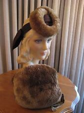 CLASSIC 40'S BROWN FELT AND FUR TILT HAT W/FUR MUFF