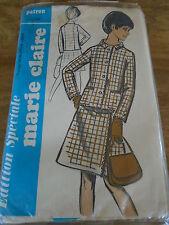 """ANCIEN PATRON  MARIE CLAIRE """"TAILLEUR VESTE JUPE   T 40/44  1970"""