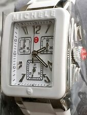 NWT MICHELE Park Jelly Bean White Silicone Silver Chronograph Watch MWW06L000001