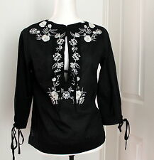 Mango embroidered black long-sleeve summer top size M or size 8 Used