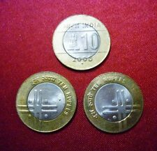 10 rs ~~ cross (plus)coin~ 3 coin lot ~ noida mint ~~rare year 2006 ~ bi-metal