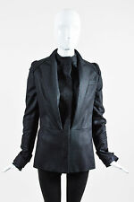 Veronique Branquinho Black Wool Layered Lapel Long Sleeve Pleated Jacket SZ 40