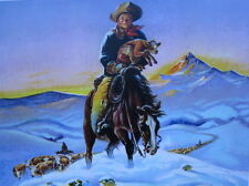 Vintage art Young Cowboy Horse Cattle Calf
