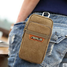Men's Canvas Cell Mobile Phone Belt Pouch Purse Belt Fanny Pack Hook Waist Bag