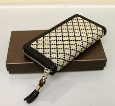 New Authe GUCCI Diamante Canvas Clutch Zip Around WALLET w/Bamboo,Black 224253