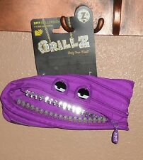 ZIPIT GRILLZ MONSTER FACE PENCIL POUCH FOR SCHOOL PURPLE NEW!