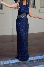 Scala Heavily Beaded Bare Back Cut-Out Waist Formal Floor Navy Blu Length Gown L