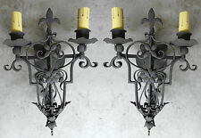 @ PAIR UNIQUE 1920S STYLE WROUGHT IRON SPANISH REVIVAL WALL SCONCE LAMP TUSCAN