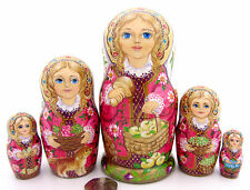 Genuin Russian 5 stacking dolls Babushka apples ZOLOTOVSKAYA signed UNIQUE GIFT