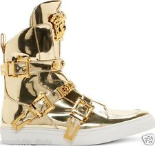 $2,500 New Versace Gold High-Top Studded Strap Medusa Sneakers 36 - 6