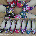 New Womens Ballerina Ballet Dolly Pumps Ladies Flower Flat Shoes Size 4.5-7.5