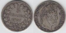 gertbrolen 5 FRANCS Argent  Louis-Philippe 1837  MARSEILLE