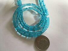 """2 12.5"""" Strands (64 Beads) Soft Sky Blue 4X10mm Tube Shape Glass Beads"""