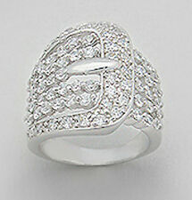 22mm Wide Solid Sterling Silver Stylish Buckle Cigar Band Ring Size 7 SPARKLING