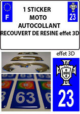 1 sticker plaque immatriculation MOTO TUNING 3D RESINE  FPF PORTUGAL DEPA 23
