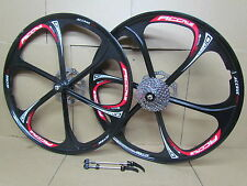 "26"" MTB Mountain Bike Magnesium Alloy Mag 8 Speed Wheel Set + Disc Brake Rotors"