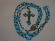 Vintage Rosary Rome Italy Blue Glass Beads Ornate