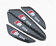 4PCS SLINE BLACK CARBON FIBER CAR DOOR PROTECT STICKER ANTI-COLLISION GLUE STRIP