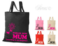 'WORLD'S BEST MUM' TOTE SHOPPING BAG - MUM MOTHERS GIFT BIRTHDAY PRESENT