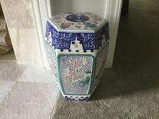 Porcelain Ceramic Garden Stool Table Barrel Asian Chinese Indoor Outdoor Floral