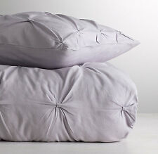 New Restoration Hardware F/Q Pintucked Bow Cotton Linen Duvet Cover Lilac Purple