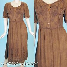 VTG 70s 80s LONG Brown boho gypsy festival embroidered dress gown Sz M