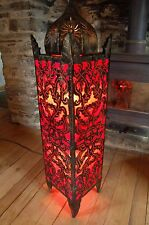 Moroccan Style Floor/Standard Lamp - Metal and Fabric from Bali - Red - 1m