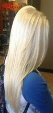 White women platinum  blonde straight. lace front wig.human hair blend.