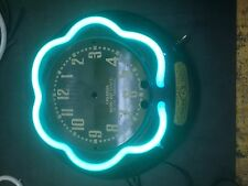 canadian neon ray small clock outer neon tube aqua color electric  clock vintage