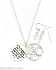 Message Life Tree In the Beginning Bible Verse Pendant Necklace Silver