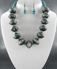 Turquoise Stone Bead And Burnished Silver Tone Bead Necklace Earring