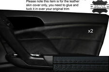 BLACK STITCH 2X FRONT DOOR CARD TRIM SKIN COVER FITS HONDA ACCORD MK8 08-12
