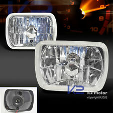 7X6 H4 Sealed Beam Lamps Chrome Crystal Headlights Conversion Kit