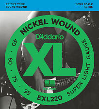 D'ADDARIO EXL220  XL NICKEL BASS STRINGS,  SUPER LIGHT GAUGE 4's - 40-95