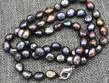 "23.5 ""Rare! 7-8MM black Akoya Cultured Pearl Baroque Necklace lobster clasp AAA"