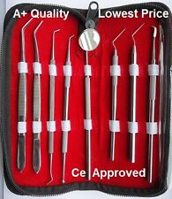 Pro Set Dental Dentist Scaler Tweezers Instruments pick tool kit Leather Case