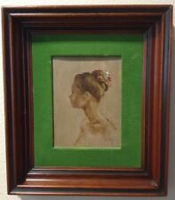 "Antique Portrait Painting Signed Beatty ""Lovely Girl"" Nude - Mahogany Cove Frame"