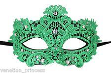 Sexy Green Italian Lace Venetian Masquerade Mask w/ Rhinestones LM003E BRAND NEW