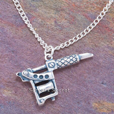 925 sterling silver 3D TATTOO GUN Artist Machine Charm Pendant Necklace Large